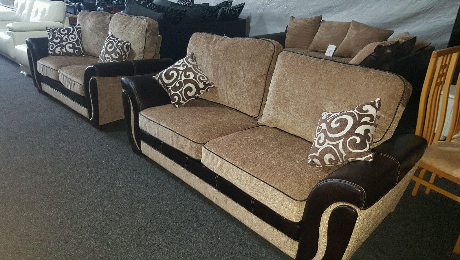 Sofa Set 3 Plus 2 Seater 3 2 Beige Brown Great Quality With Pocket